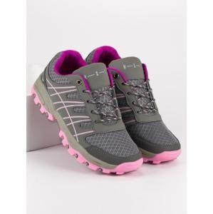 A044013G Praktické šedo-stříbrné dámské tenisky bez podpatku - EU 36