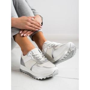 BESTELLE 2019-414S Jedinečné dámské šedo-stříbrné tenisky bez podpatku - EU 41
