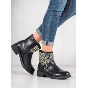 BESTELLE RBS-17B Trendy černé kotníčkové boty dámské na plochém podpatku - EU 36