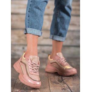 BY-082P Praktické tenisky růžové dámské bez podpatku - EU 37