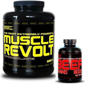 Muscle Revolt + BEEF Amino Zdarma - Best Nutrition 2250 g + 250 tbl. Banán
