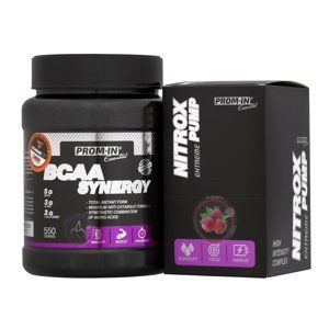 BCAA Synergy + Nitrox Pump Zdarma - Prom-IN 550 g + 10x15 g Cherry