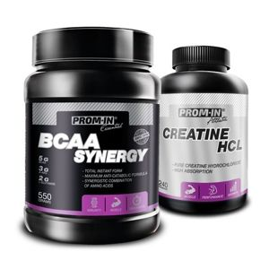 BCAA Synergy + Creatine HCL Zdarma - Prom-IN 550 g + 240 kaps. Raspberry