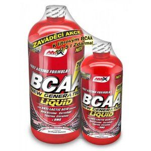 1 + 1 Zdarma: BCAA New Generation Liquid - Amix 1000 ml + 500 ml  Red Raspberry