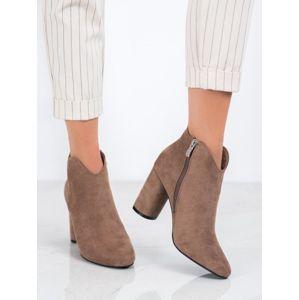 FILIPPO DBT1538/20TA Krásné kotníčkové boty dámské hnědé na širokém podpatku - EU 38