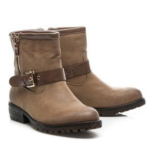 HANER HC207KH / S3-124P Módní hnědé kotníčkové boty dámské na plochém podpatku - EU 37