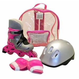 Kolečkové brusle sada brusle+helma+chrániče, růžové