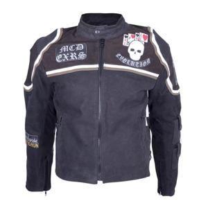 Kožená moto bunda Sodager Micky Rourke Barva černá s grafikou, Velikost 3XL