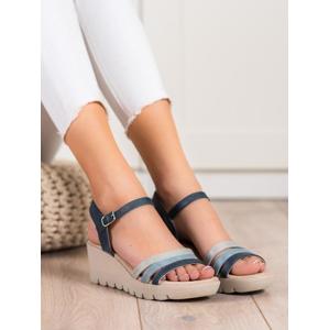 KYLIE K2011302MA Jedinečné dámské modré sandály na klínku - EU 41