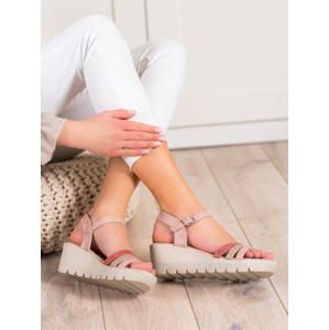 KYLIE K2011302NU Jedinečné růžové sandály dámské na klínku - EU 36
