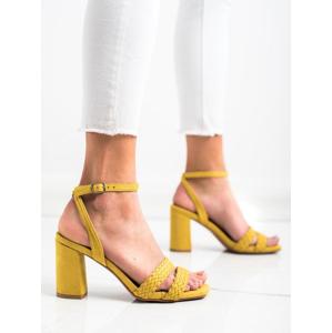 KYLIE K2012501AMA Jedinečné zlaté dámské sandály na širokém podpatku - EU 36