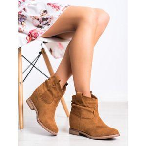 MARQUIZ 1516C Trendy hnědé dámské kotníčkové boty na klínku - EU 36