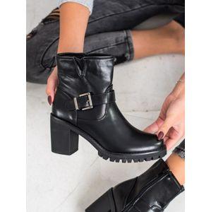 MARQUIZ E9314B Výborné černé kotníčkové boty dámské na širokém podpatku - EU 36