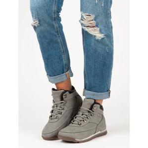 McKeylor WAL19-12623G Výborné dámské šedo-stříbrné kotníčkové boty bez podpatku - EU 40