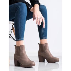 QUEENTINA B2880KH Praktické dámské kotníčkové boty hnědé na širokém podpatku - EU 41