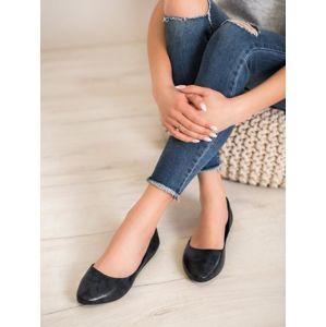 SERGIO LEONE 12341A Trendy černé dámské baleríny bez podpatku - EU 36