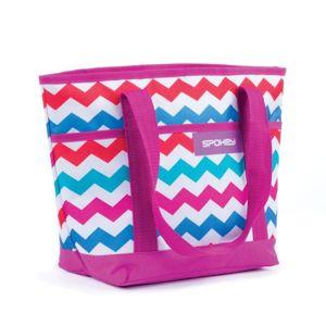 Spokey ACAPULCO Plážová termo taška malá,  fialová zigzag, 39 x 15 x 27 cm