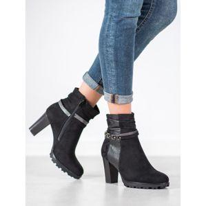 SUPER MODE 2995B Zajímavé kotníčkové boty dámské černé na širokém podpatku - EU 39