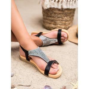 TOP SHOES CT-31B Pohodlné černé sandály dámské bez podpatku - EU 36