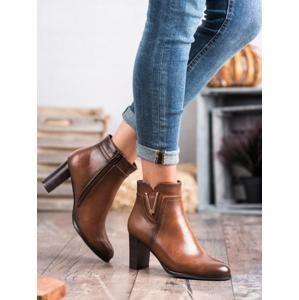 VINCEZA XY20-10491C Designové dámské hnědé kotníčkové boty na širokém podpatku - EU 39