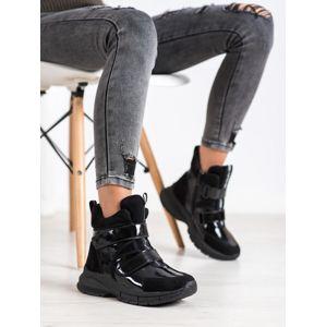 Y9411B Stylové kotníčkové boty dámské černé na plochém podpatku - EU 36