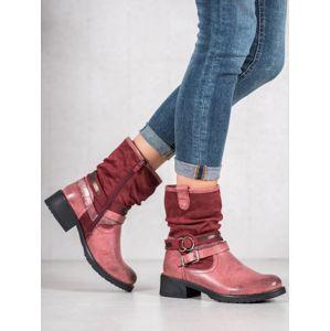 Z119BUR Zajímavé kotníčkové boty červené dámské na plochém podpatku - EU 36